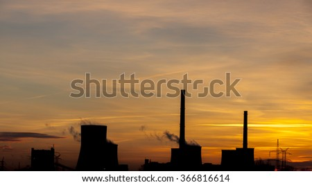 Heavy industrail - sunrise time. - stock photo