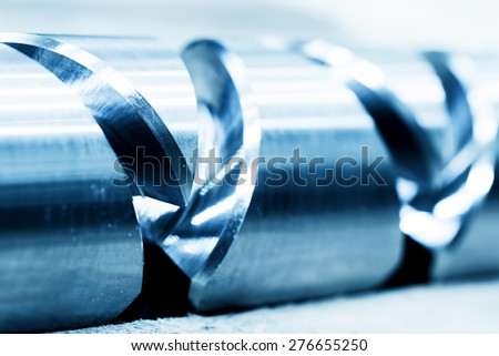 Heavy industrial element, screw. Industry, close-up background - stock photo