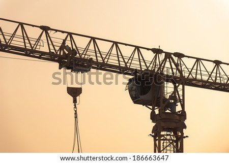 Heavy lifting crane in construction site