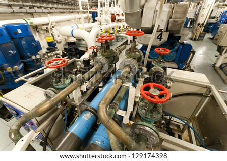 Heavy Machinery Space - Pipes, Valves, Engines