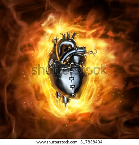 Heavy metal heart / 3D render of grungy metal heart with fire background - stock photo