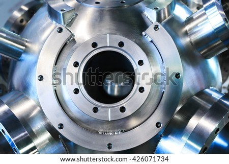 heavy metal housing with welded flanges. - stock photo