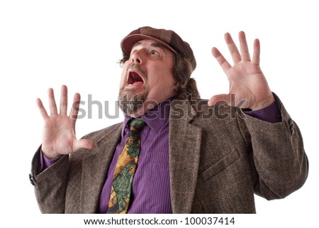 Heavy middle-aged man with goatee, cap and tweed jacket has hands flung up and mouth wide open. Horizontal, isolated on white, copy space. - stock photo