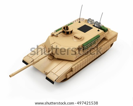 Heavy Military Tank isolated on white background. 3D Rendering.