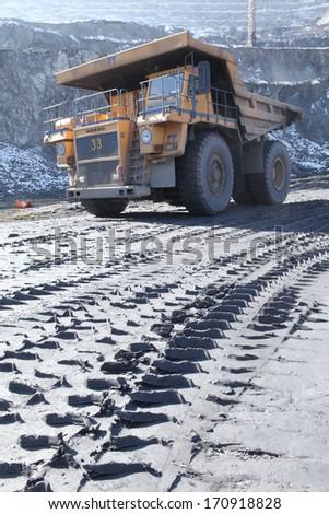 Heavy mining truck . - stock photo