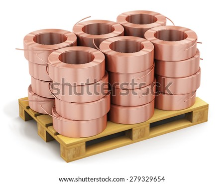 Heavy non-ferrous metallurgical industry and industrial manufacturing business production concept: stacked hunks of metal copper electrical power wire cable on wooden shipping pallet isolated on white - stock photo