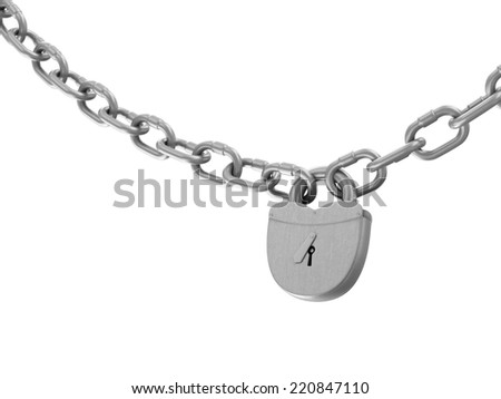Heavy Old Iron Padlock with Chain isolated on white background