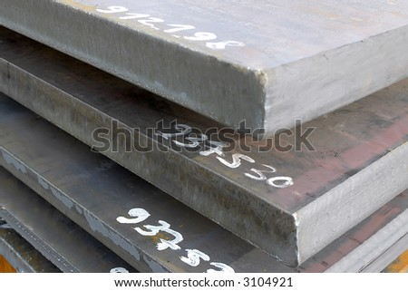 heavy plates made of steel - stock photo
