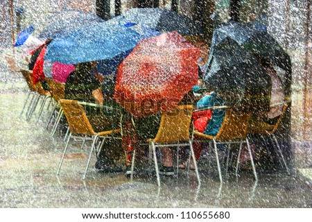Heavy Rain and Snow - stock photo