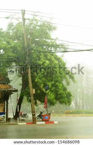 Heavy rain in the city of Thailand - stock photo