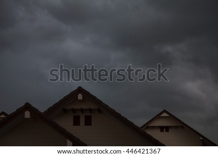 heavy rain storm clouds over home