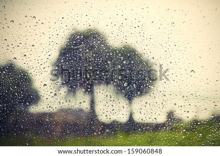 Heavy rain - view through the window  - stock photo