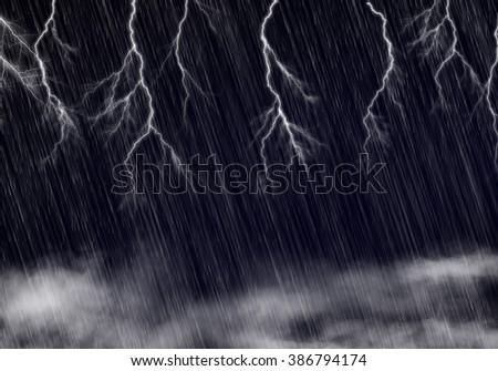 heavy rain with bolt thunder storm striking sky. Idea of dark, dangerous, energy, stormy, power concept template background.  - stock photo