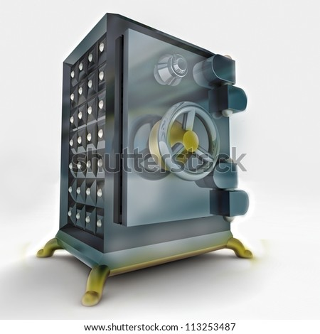 heavy reinforced metallic closed bank vault render illustration