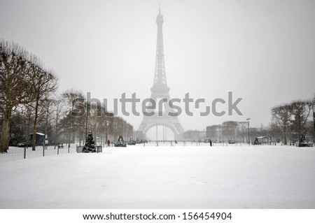 Heavy snowfall in Paris - stock photo