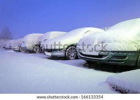 Heavy snowfall over night in Poland - stock photo