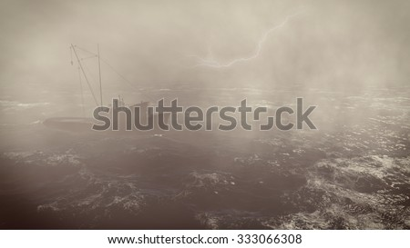Heavy storm in the open sea with small trawler at foreground and with lightning flashes in the distance.3D rendering file.