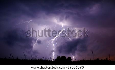 Heavy thunderstorm in central Poland. - stock photo