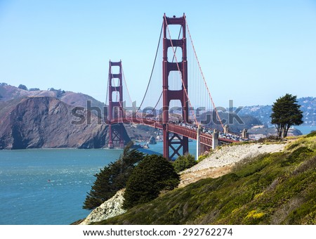Heavy traffic crossing the Golden Gate Bridge in San Francisco - stock photo
