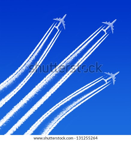 Heavy traffic in the air - stock photo