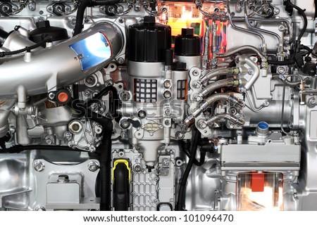 heavy truck engine detail - stock photo