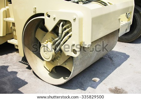 Heavy Vibration roller compactor. - stock photo
