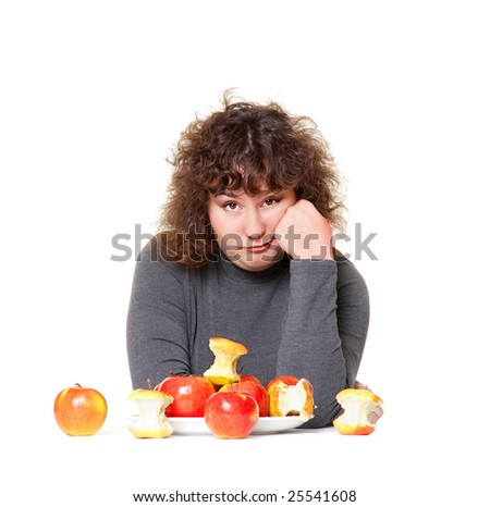 heavy woman tired of diet - stock photo