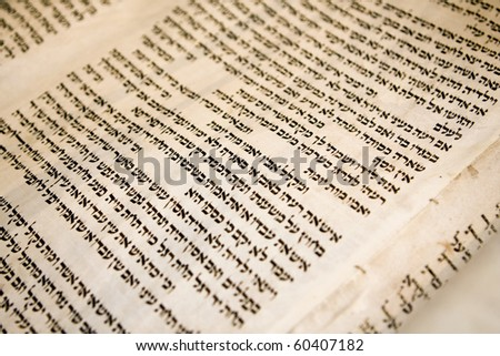 Hebrew text on one panel of a antique Torah scroll that is 150 years old. The traditional stitching holding the parchment panels together is visible. - stock photo