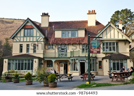 HEDDON VALLEY, ENGLAND - MARCH 24: Hunters Inn, built circa 1895, set  in the Exmoor national park in Heddon Valley, March 24, 2012. Hunters Inn features in Thomas Hardys famous novel -Dame the tenth
