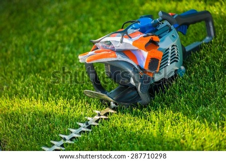Hedge Trimming Safety. Powerful Gasoline Hedge Trimmer with Safety Accessories; Gloves and Safety Glasses. Landscaping Safety Concept. - stock photo