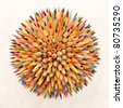 hedgehog out of pencils - stock photo