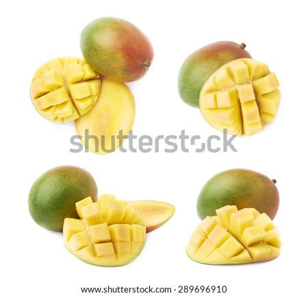 Hedgehog style served mango composition isolated over the white background, set of four different foreshortenings - stock photo