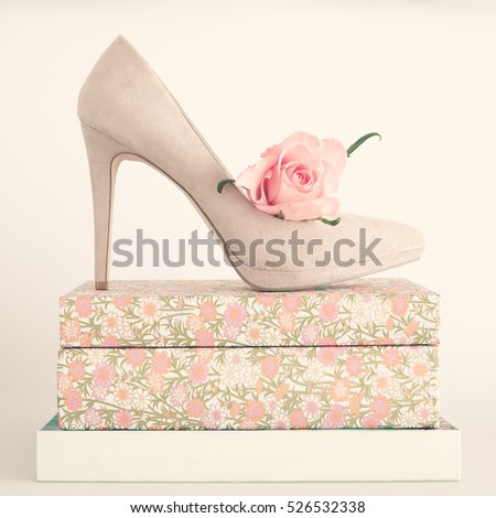 Heel shoe and rose over vintage books