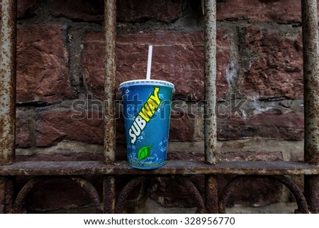 Heidelberg, Germany - circa october 2015 - illustrative editorial of a subway drink - stock photo
