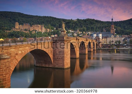 Heidelberg. Image of german city of Heidelberg during sunset. - stock photo