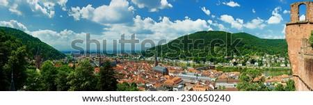 Heidelberg panorama - view from castle Heidelberg - stock photo