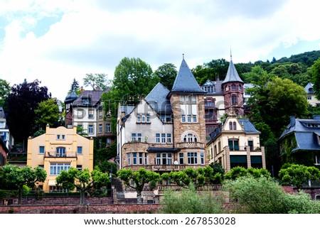 Heidelberg Villa at the Neckar River Germany - stock photo