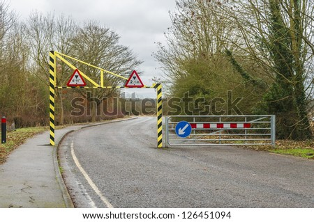 Height restriction on a road into a leisure area - stock photo