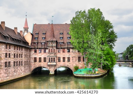 Heilig-Geist-Spital (Hospice of the Holy Spirit) in Nuremberg, Germany - stock photo