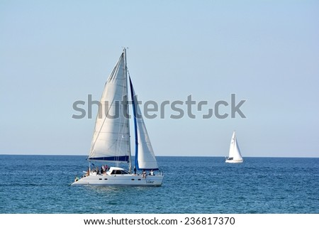 HEILIGENDAMM, GERMANY - August 28, 2014: Sailboats in the Baltic Sea at Heiligendamm - stock photo