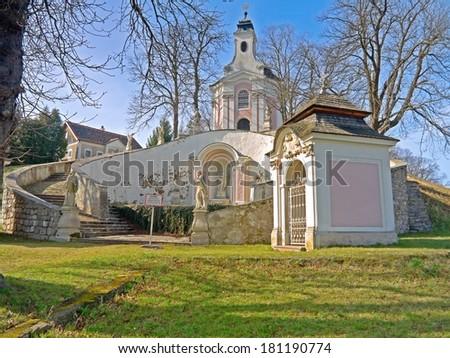 HEILIGENKREUZ, AUSTRIA - 10 March 2014: The baroque stations of the cross of the abbey of Heiligenkreuz are a landmark in Lower Austria. Heiligenkreuz, March 10 2014 - stock photo
