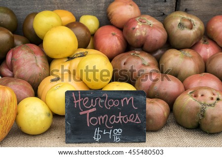 Heirloom tomatoes for sale at local farm market.