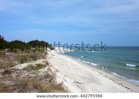 Hel Peninsula (Polish: P�³�?wysep Helski), white sand beach at the Baltic Sea in Poland - stock photo