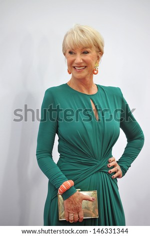 "Helen Mirren at the Los Angeles premiere of her new movie ""Red 2"" at the Westwood Village Theatre. July 11, 2013  Los Angeles, CA - stock photo"