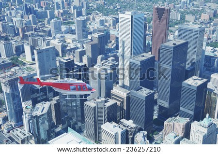 Helicopter above the center of Toronto. Ontario. Canada.