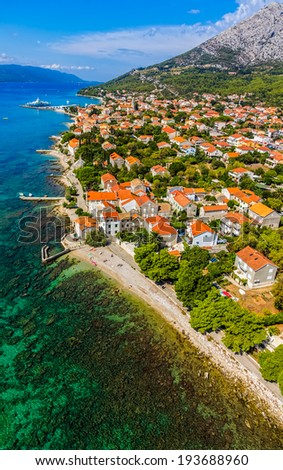 Helicopter aerial shoot of famous tourist destination on Peljesac peninsula, Croatia - stock photo