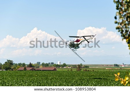 Helicopter crop duster making a turn over a cornfield ready to make another pass with pesticide. - stock photo