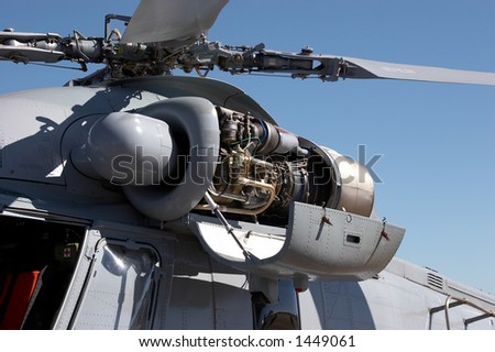 Helicopter engine and rotor