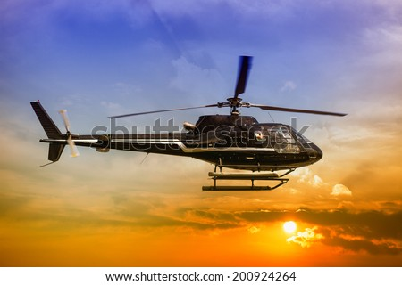 Helicopter for sightseeing. - stock photo