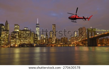 Helicopter in New York City, USA - stock photo